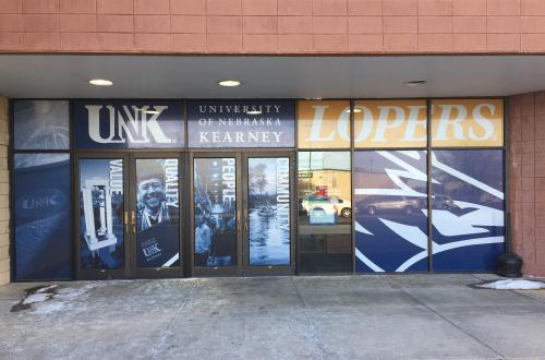 Hilltop window display for University of Nebraska Kearney